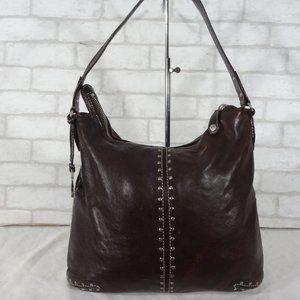 Michael Kors Brown Leather Distressed Studded Hobo